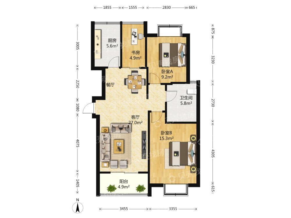 绿地世纪城一2室2厅1卫96平米2008年产权房精装