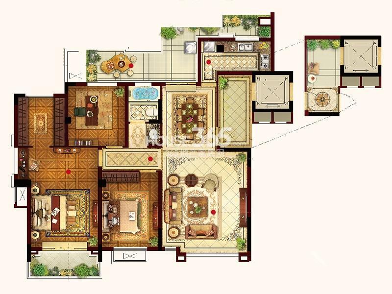 联发君悦华府S06户型3室2厅2卫1厨 133.00㎡