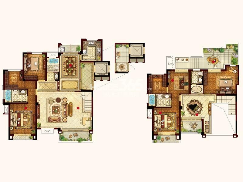 联发君悦华府Y05户型5室3厅4卫1厨 265.00㎡