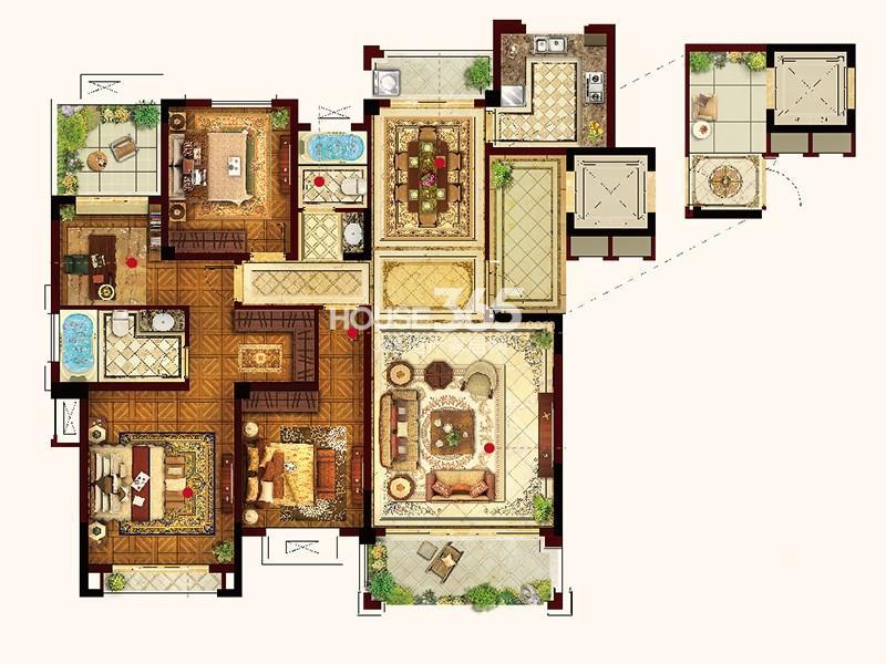 联发君悦华府Y04户型4室2厅2卫1厨 156.00㎡