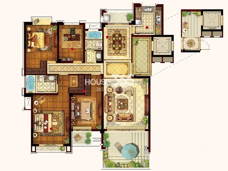 联发君悦华府Y02户型4室2厅2卫1厨 169.00㎡