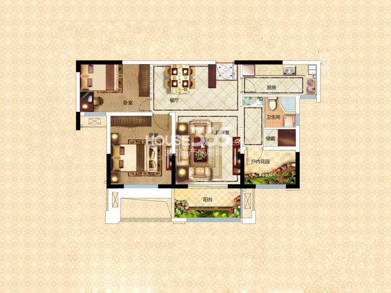 万和熙庭E1户型2室2厅1卫1厨 89.57㎡