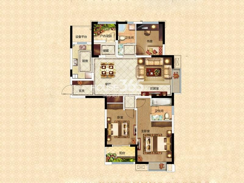 万和熙庭E4户型3室2厅2卫1厨 130.40㎡
