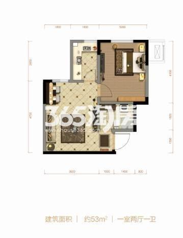 53平米 1室2厅1卫