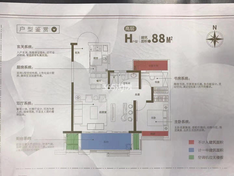 新城吾悦广场88㎡高层H户型图