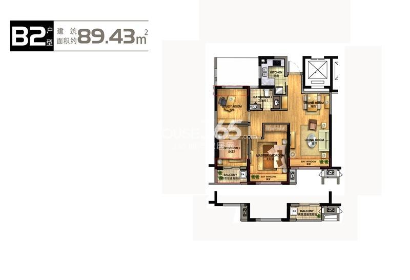 华元欢乐城2号楼B2户型89方户型图
