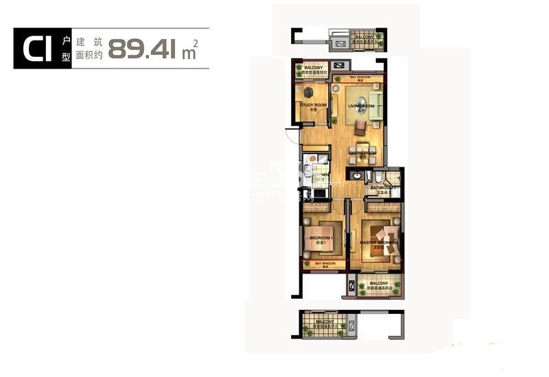 华元欢乐城2号楼C1户型89方户型图