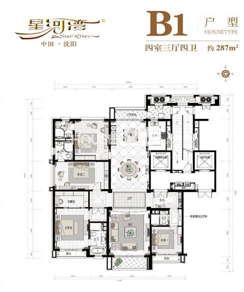 沈阳星河湾B14室3厅4卫 287.00㎡