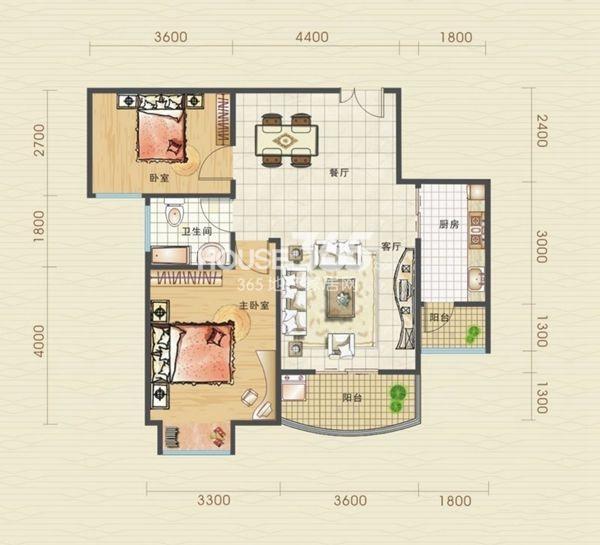 汉口北卓尔生活城B2-3户型图2室2厅1卫1厨 81.06㎡