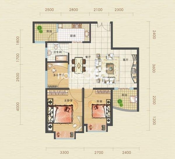 汉口北卓尔生活城B3-3户型图3室2厅1卫1厨 83.91㎡