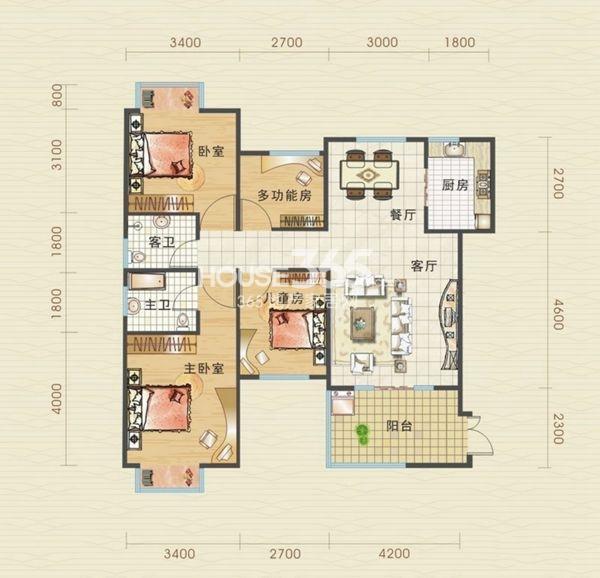 汉口北卓尔生活城D1-1户型图4室2厅2卫1厨 110.92㎡