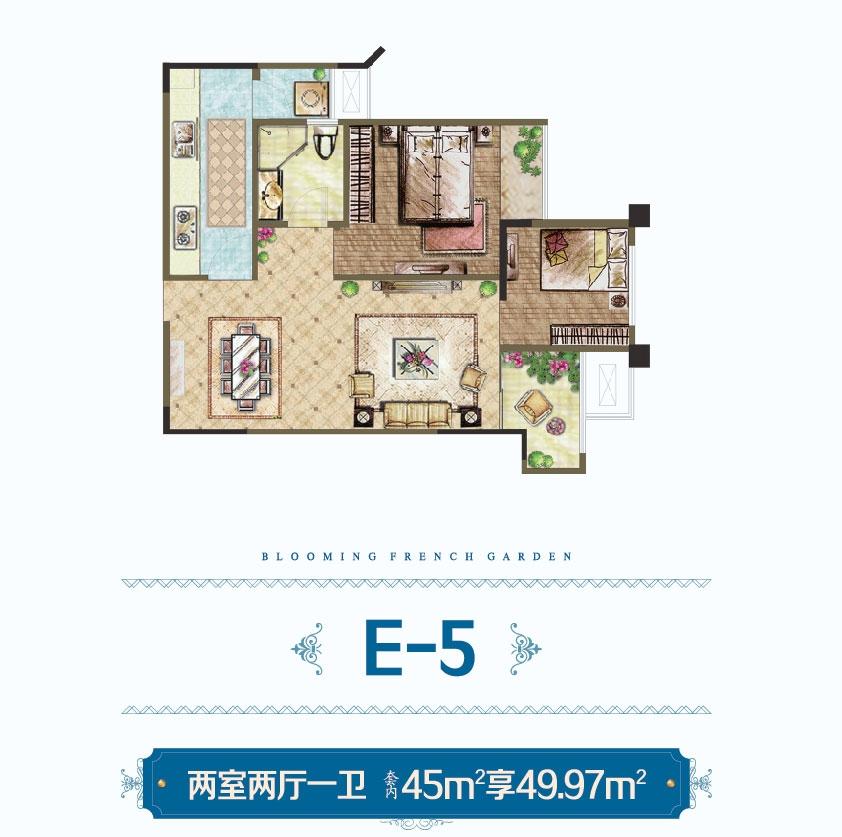 越昕晖高层E-5户型 两室两厅一卫 套内45米