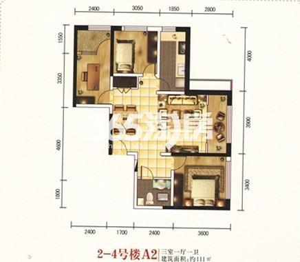 2-4号楼A2户型 三室一厅一卫 111㎡