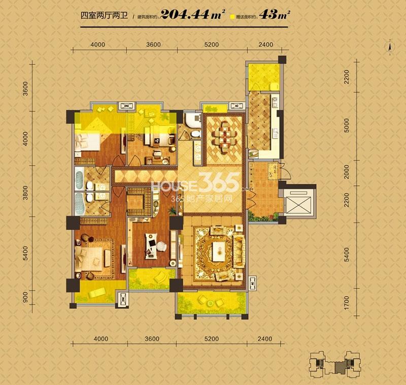 中贸广场6#楼1-B户型四室两厅两卫204.44㎡