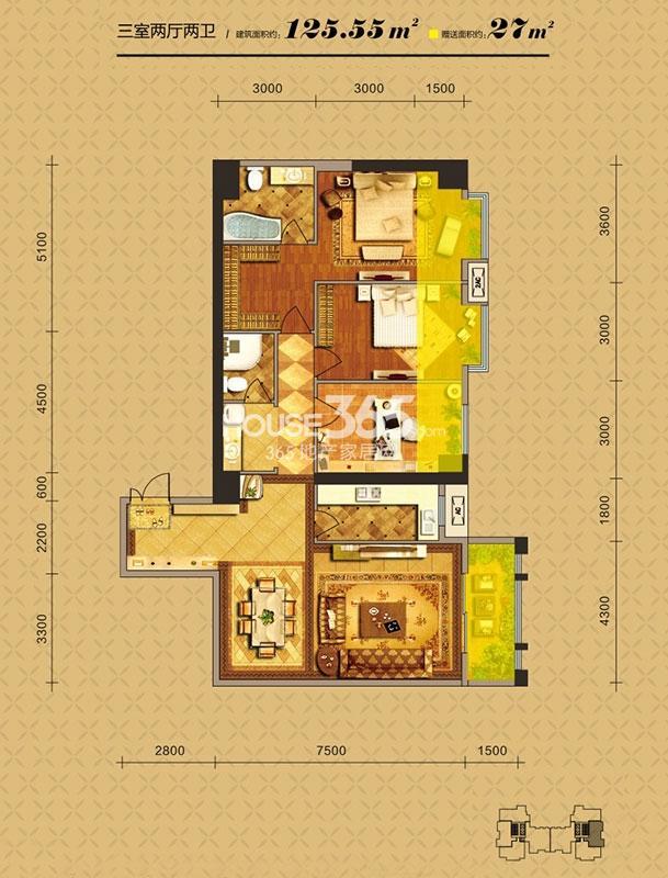 中贸广场6#楼B3户型三室两厅两卫125.55㎡