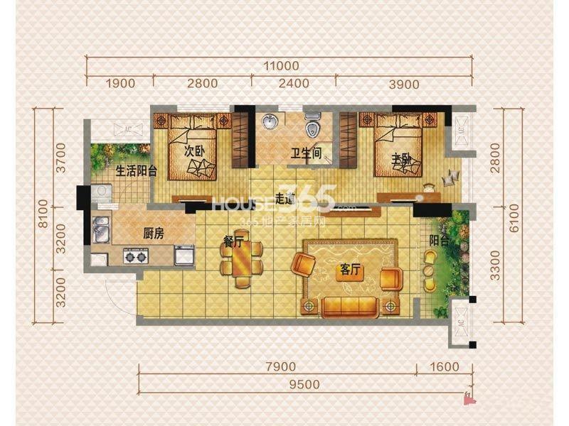 佳兆业8号一期一栋E1户型2室2厅1卫1厨 69.00㎡_副本