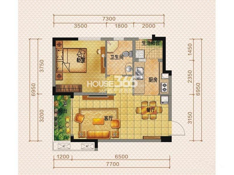 佳兆业8号一期一栋F1户型1室2厅1卫1厨 59.00㎡_副本