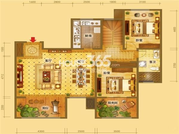 倚能维兰德小镇叠墅首层约252-292平米(五室三厅三卫一厨+阳光房+露台)户型图