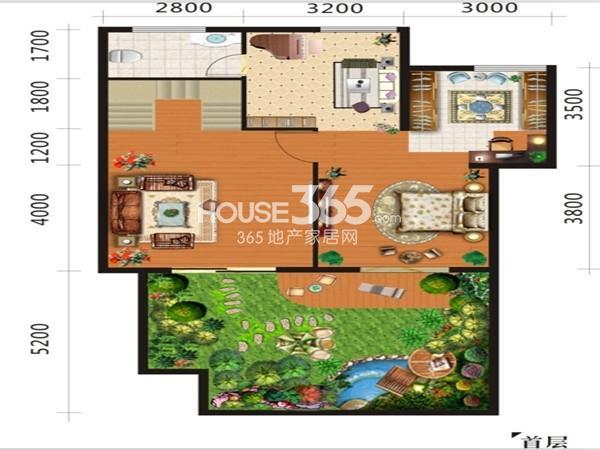 倚能维兰德小镇下跃小复式首层约180平米(五室三厅二卫一橱+下沉式庭院)户型图
