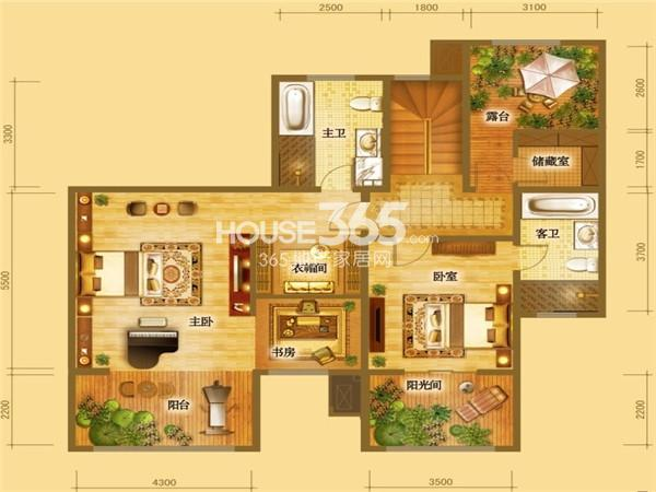 倚能维兰德小镇叠墅跃层约252-292平米(五室三厅三卫一厨+阳光房+露台)户型图