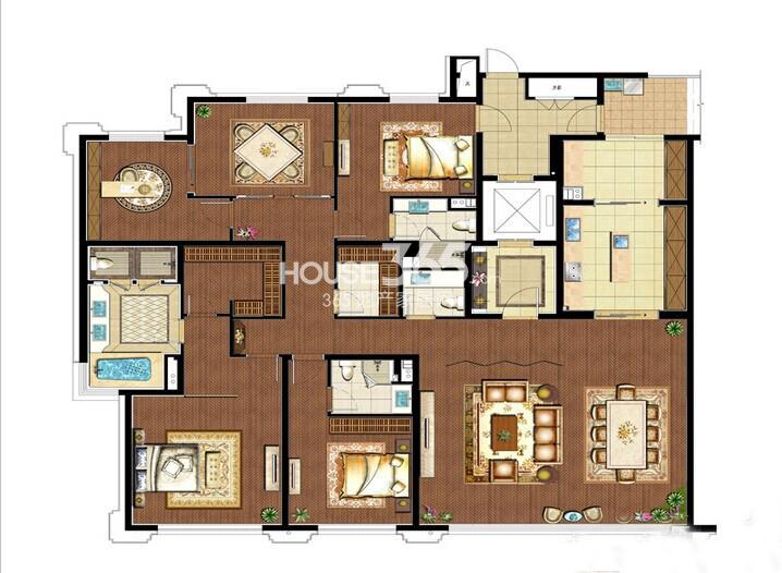 万科玲珑湾天萃户型图58#标准层D1户型4室2厅4卫1厨305平米