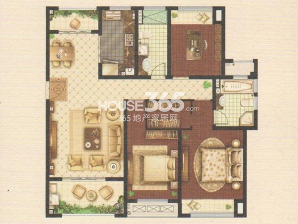 嘉宏云顶C4户型 三房两厅两卫 约139.6平