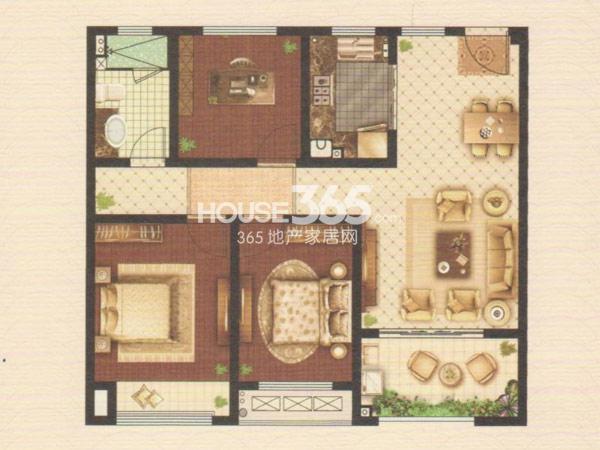 嘉宏云顶A2户型 三房两厅一卫 约103.52平