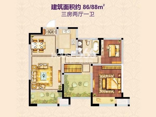 兰陵锦轩5# 86/88㎡户型图