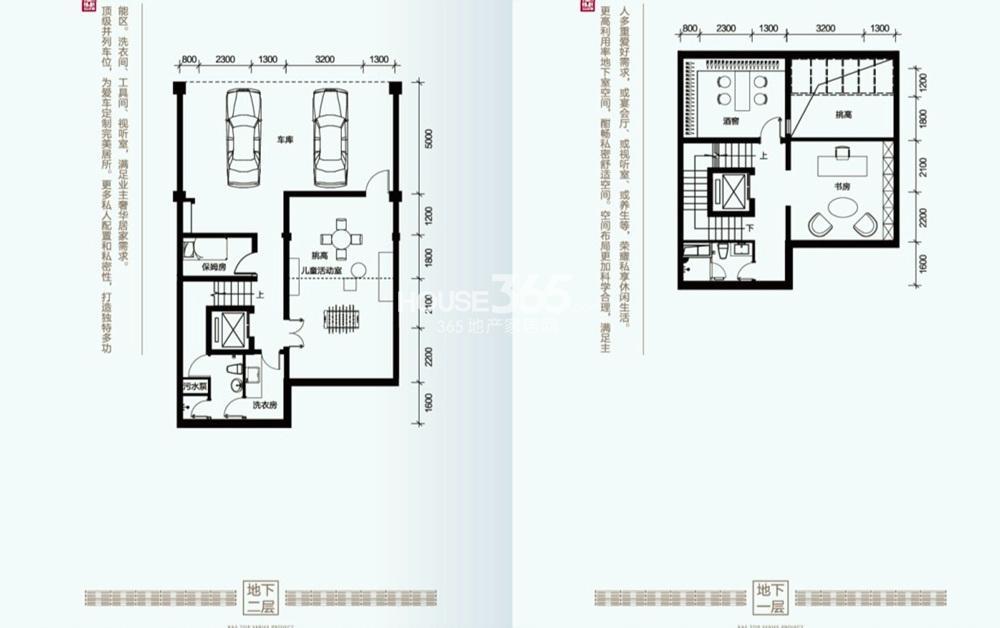 富力十号郦墅B户型地下一层和二层