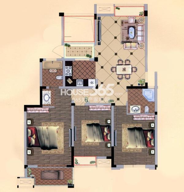 观山名筑9#楼127平户型图