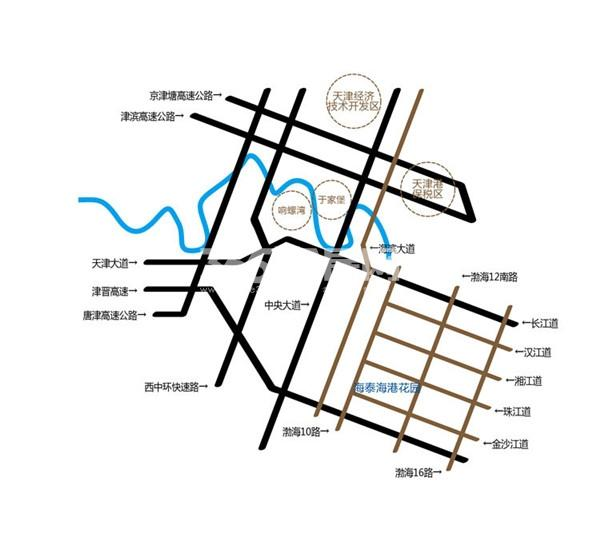 海泰海港花园交通图