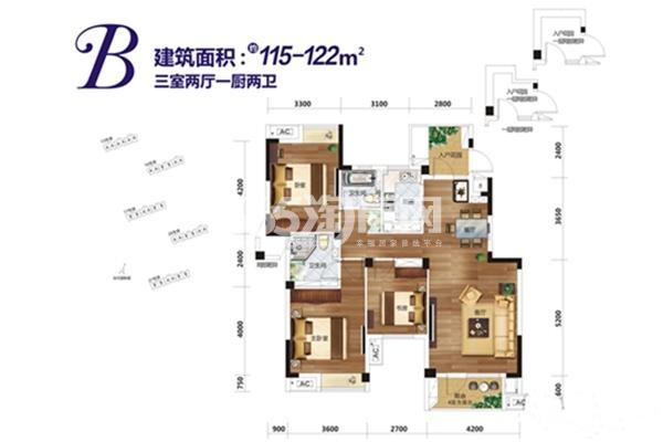 当代国际城一期13、16、17、20、21号楼B户型