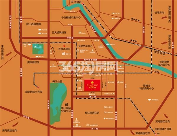 华厦津典三期川水园交通图