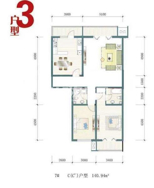 一期7号楼标准层C户型图