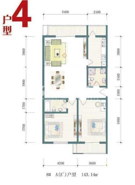 一期8号楼标准层A户型图