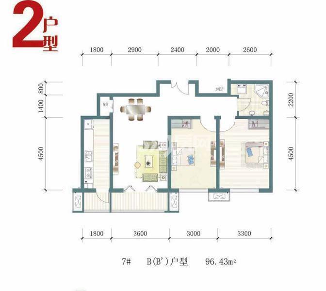 一期7号楼标准层B户型图