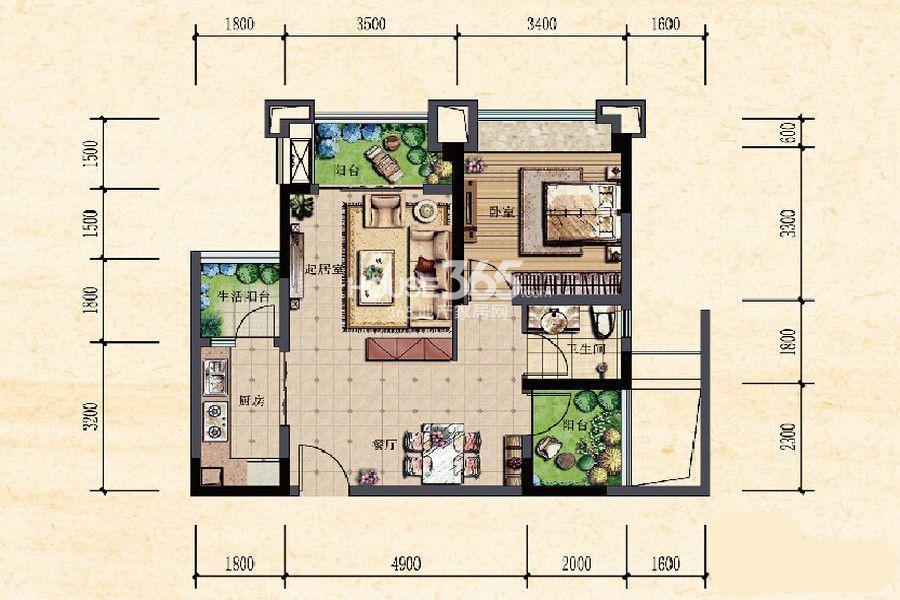 珠江城一期高层13-18号楼标准层B3户型 54㎡