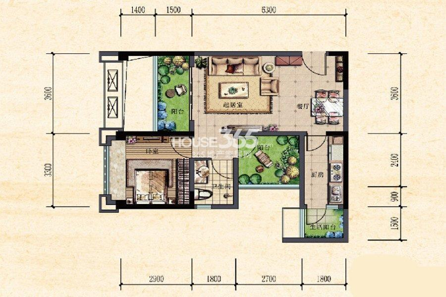 珠江城一期高层13-18号楼标准层A1户型 50㎡