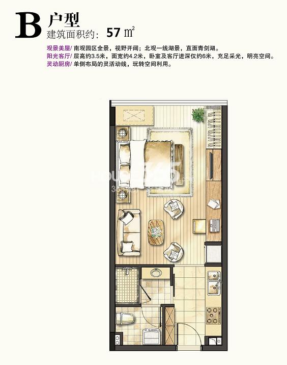 启迪时尚科技城B户型57㎡一室一厅一卫