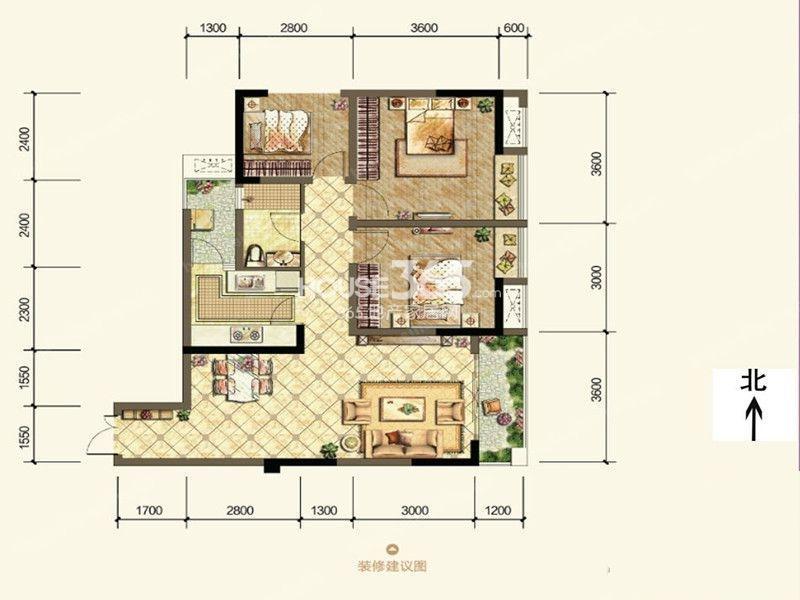 一期2号楼标准层E户型 两室两厅一厨一卫 建面91平米