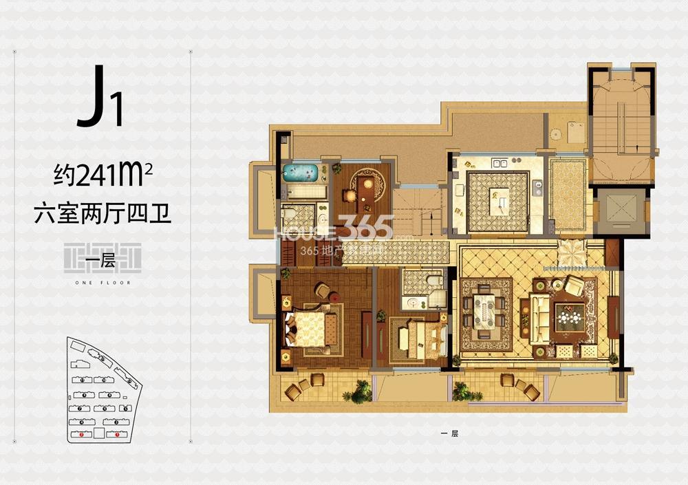 融信杭州公馆1、2号楼J1户型241方六室两厅四卫一层户型图