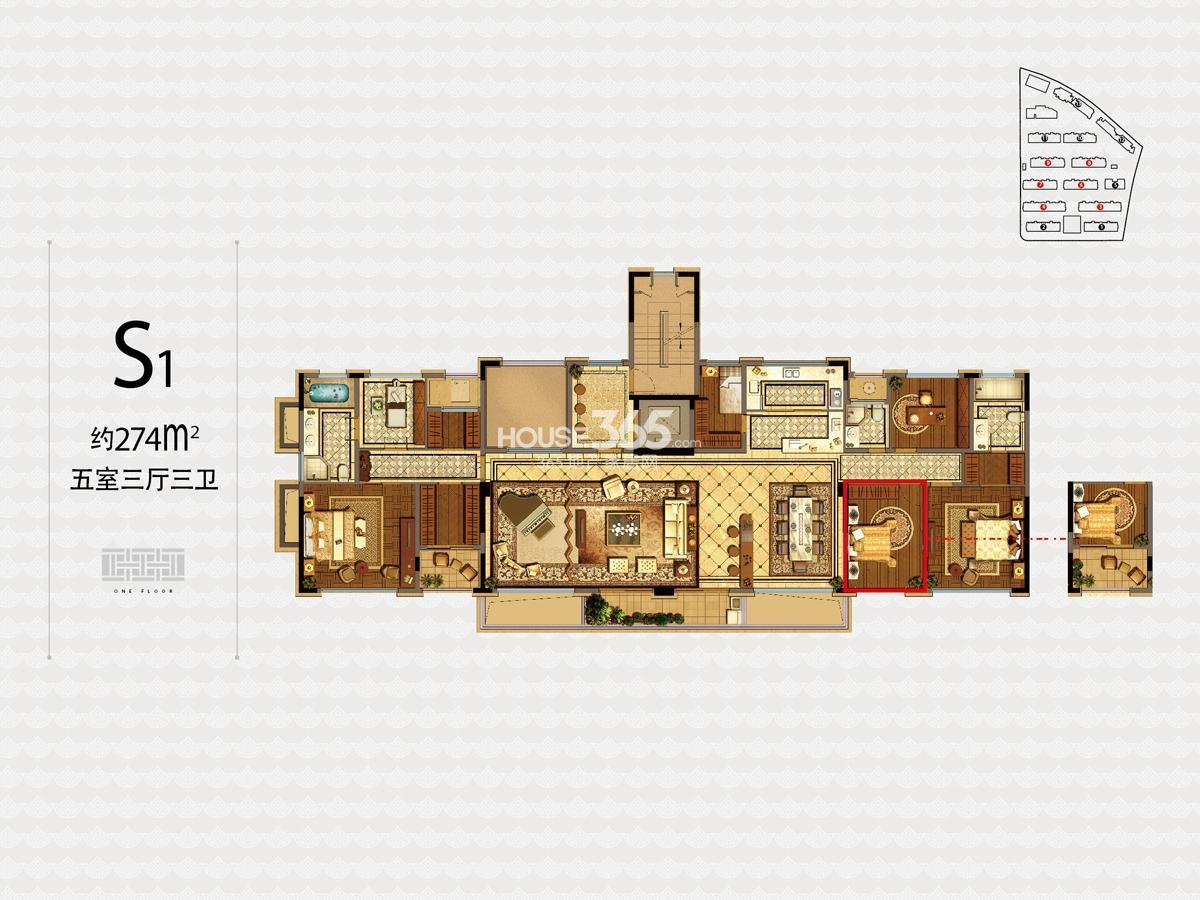 融信杭州公馆3、4、6—9号楼S1户型274方五室三厅三卫户型图