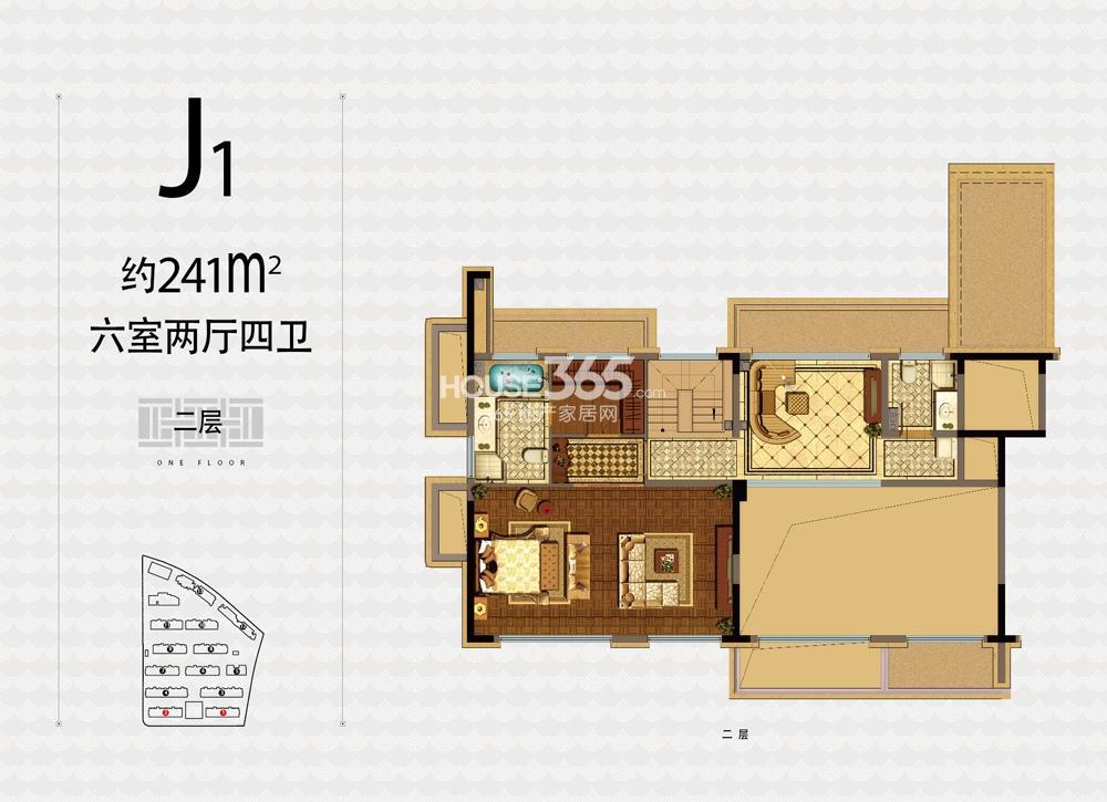 融信杭州公馆1、2号楼J1户型241方六室两厅四卫二层户型图