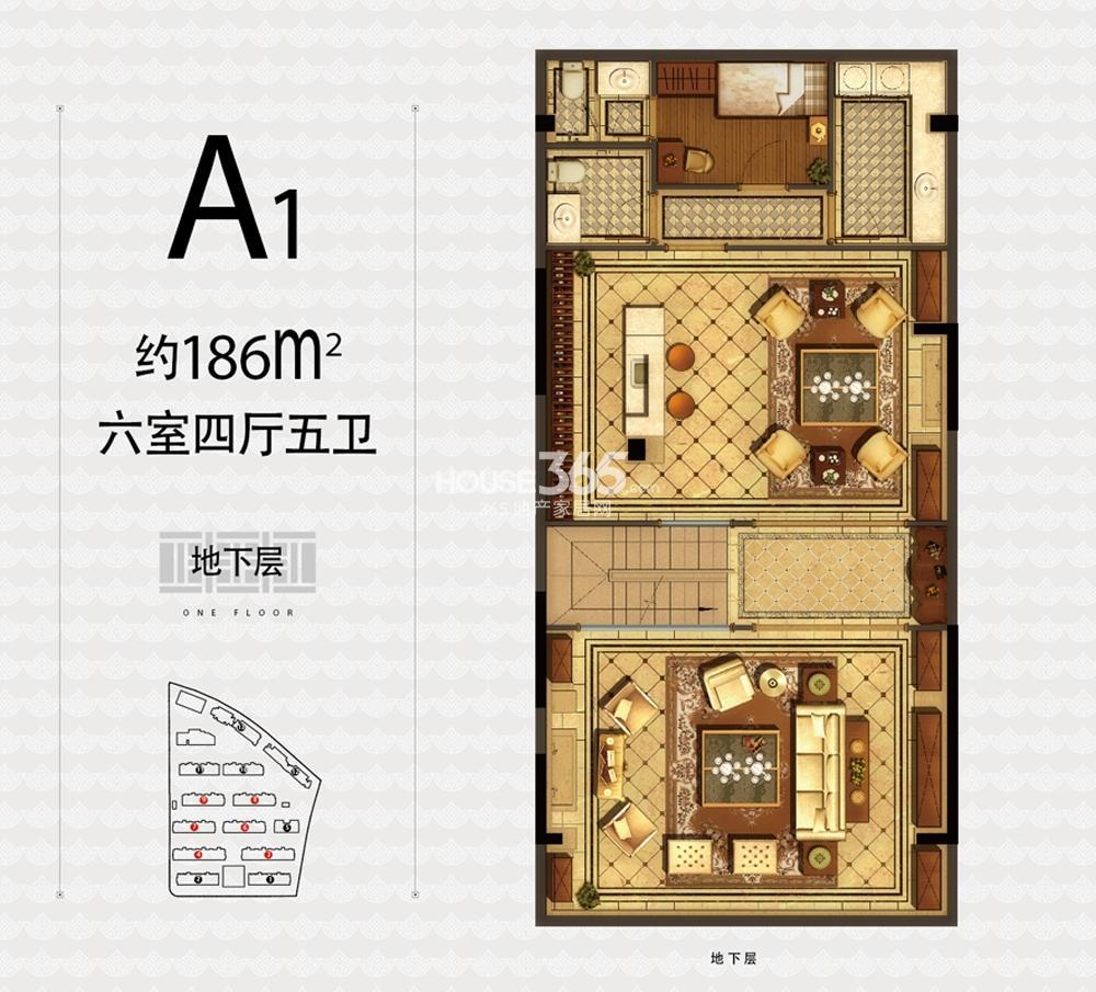融信杭州公馆3、4、6—9号楼A1户型186方六室四厅五卫地下层户型图