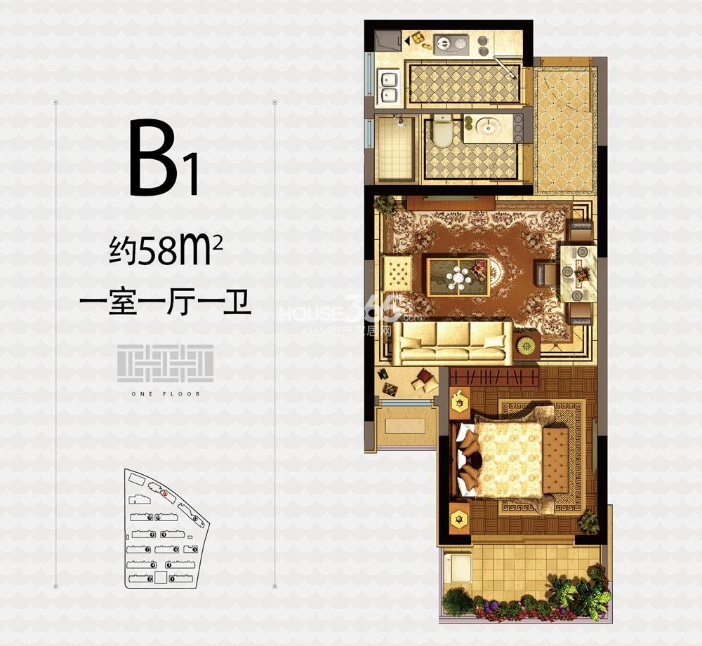 融信杭州公馆13号楼B1户型58方一室一厅一卫户型图