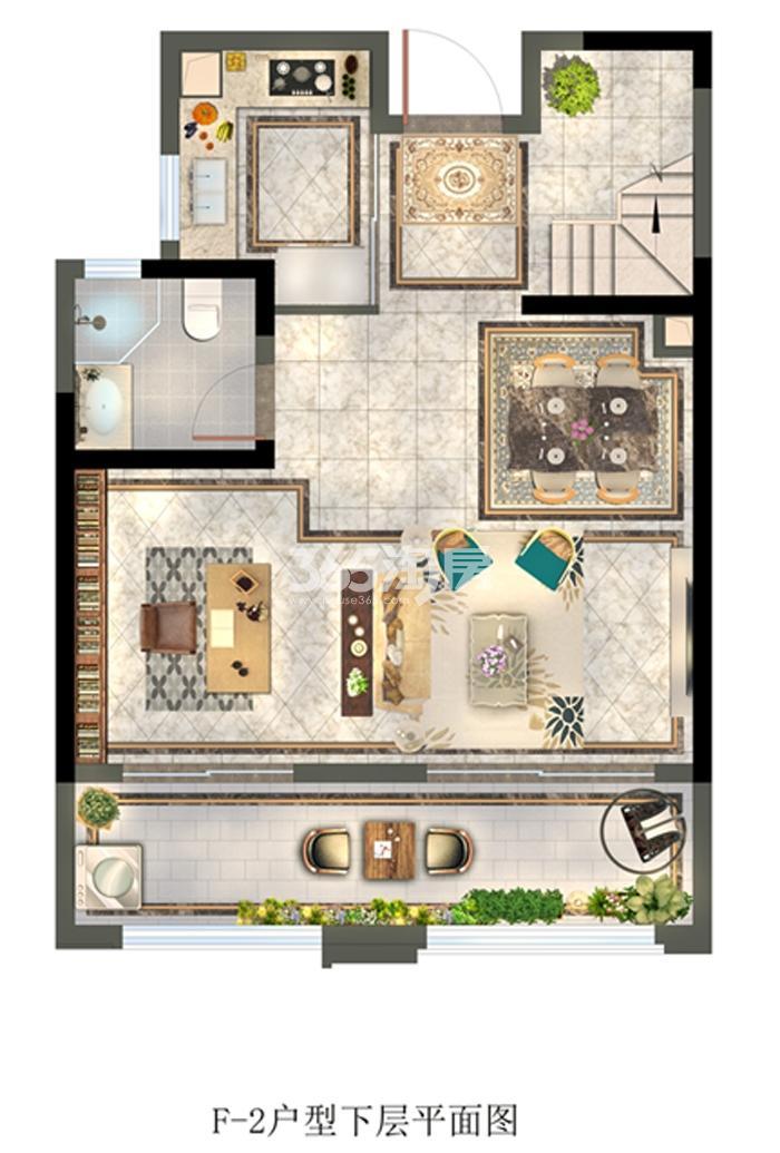 城建琥珀御宾府跃层111.26㎡下层平面图