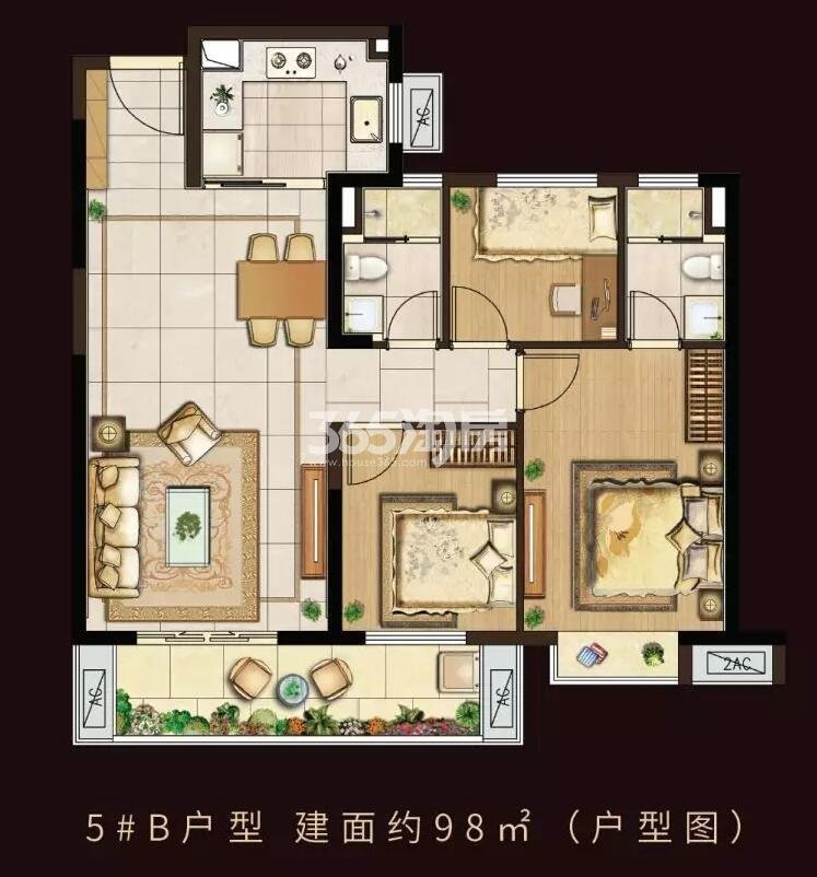 中洲崇安府5#楼98平户型