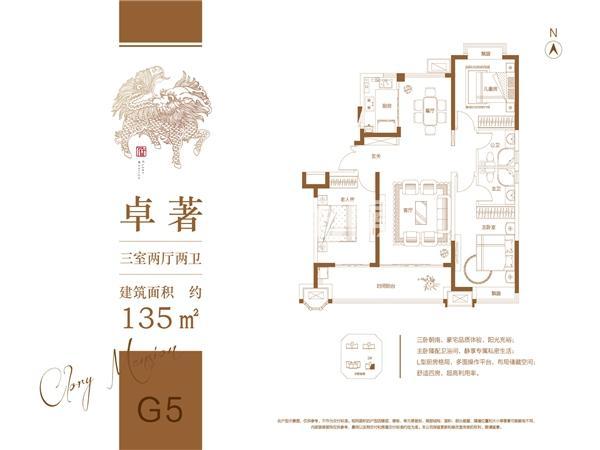 荣盛华府二区·玖珑院 G5户型 三室两厅两卫 135㎡