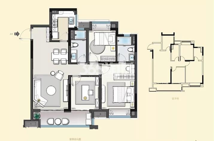 建发央誉105㎡三室两厅两卫户型