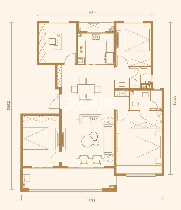 中南上悦城四室两厅142㎡户型图